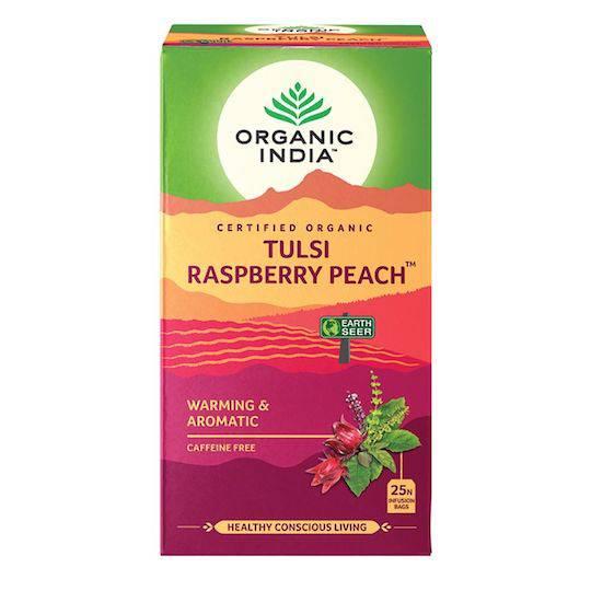 Organic India Tulsi Raspberry Peach, 25 tea bags