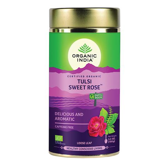 Organic India Tulsi Sweet Rose, 100g loose leaf tea