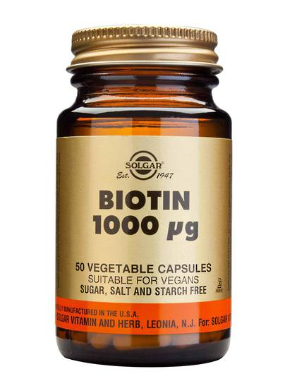 Solgar Biotin 1000mcg (50 or 250 Vegetable Capsules)