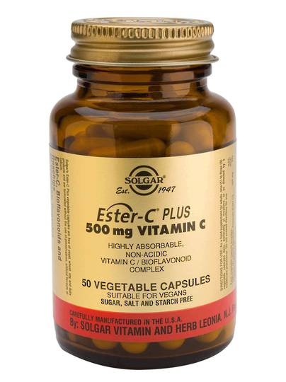 Solgar Ester-C Plus 500mg (50 & 100 Vegetable Capsules)