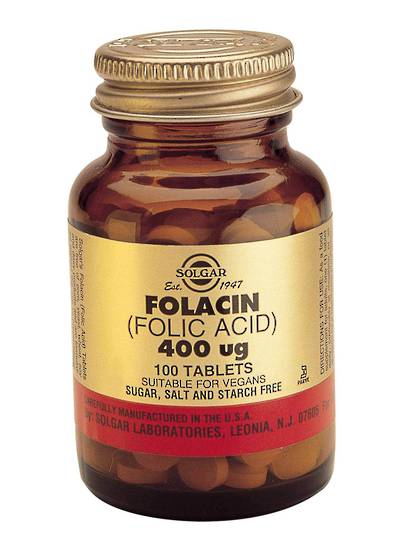 Solgar Folacin, Folic Acid 400 mcg, 100 or 250 Tablets