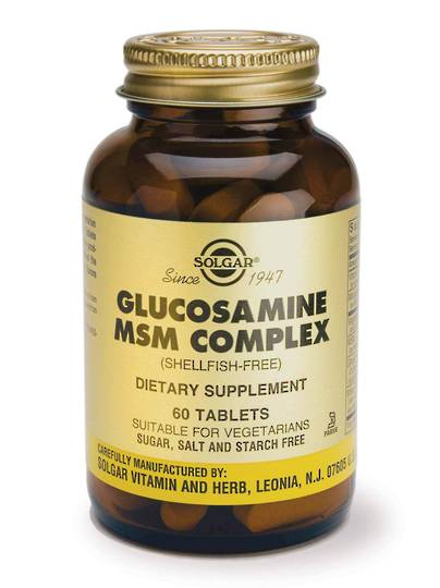Solgar Glucosamine MSM Complex - 60 Tablets (shellfish free) 9best before end 12/20)
