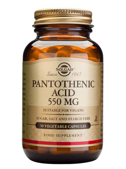 Solgar Pantothenic Acid (Vitamin B5) 550mg (50 Vegetable Capsules)