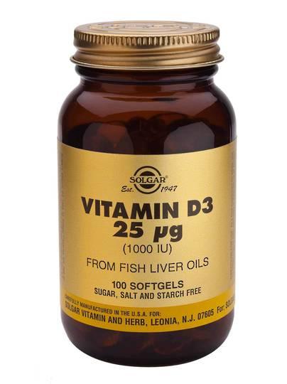 Solgar Vitamin D3 1000iu/25ug (100 Softgels)