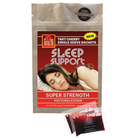 Tru2U Sleep Support Super Strength Tart Cherry Concentrate - 14 x 7.5ml Individual Sachets