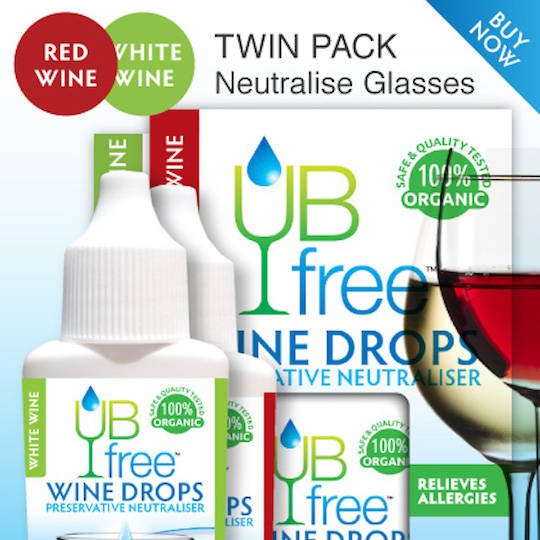 UB Free Red/White Wine Sulphite Neutraliser (Twin Pack), 8ml x 2