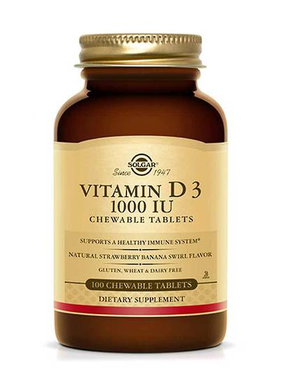 Solgar Vitamin D3 1000 IU, 100 Chewable Tablets
