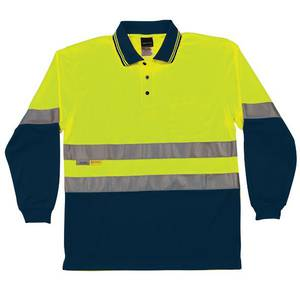 Hi Vis Traditional Polo Long Sleeves Lime/Navy
