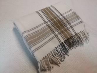 Pure Wool Throw - Cream Check