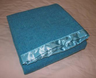 Pure Wool Blanket - Aqua Blue With Satin