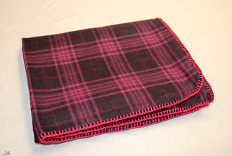 Purple Check Wool Throw