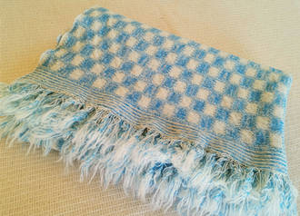 Pure Wool Throw - Blue Check