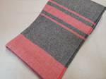 Pure Wool Blanket/Throw - Black with Red Stripes