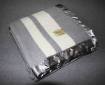 Pure NZ  Wool Buggy Blanket - Pewter with Cream Stripe