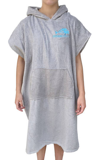 Ocean Hunter Hooded Poncho - Medium Grey