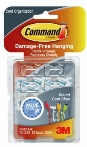 Command Clear Round Cord Organiser Clear Strips 17017CLR-VP