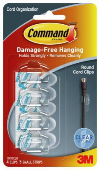 Command Clear Round Cord Clips Clear Strips 17017CLR