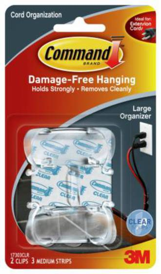 Command Clear Large Cord Organiser Clear Strips 17303CLR