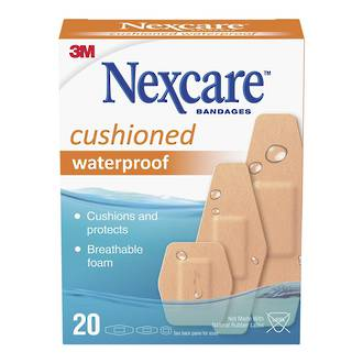 3M Nexcare Bandages Cushioned Waterproof Pack of 20