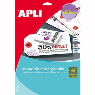 Apli 10234 Strung Tickets 36x53mm Printable Dble Sided Shts Pk10