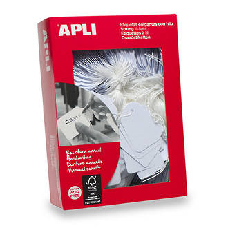 Apli 389 Strung Tickets 18x29mm White 1000pk