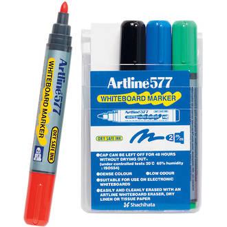 Artline 577 Whiteboard Marker 2mm Bullet Nib Wallet 4 Assorted