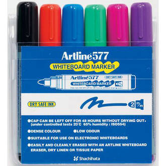 Artline 577 Whiteboard Marker 2mm Bullet Nib Wallet 6 Assorted