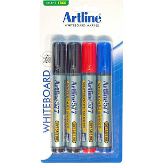 Artline 577 Whiteboard Marker 2mm Bullet Nib Hangsell 4 Pce Assorted