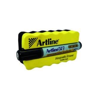 Artline 577 Whiteboard Magnetic Eraser & Marker Kit Black