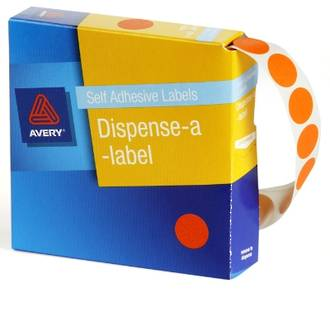 Avery DMC14FO 14mm Circle Fluoro Orange Labels