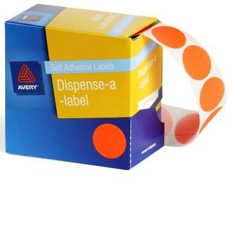 Avery DMC24FO 24mm Circle Fluoro Orange Labels
