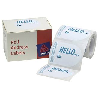 Avery DMO5843HE 'Hello I'M' Labels
