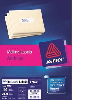 Avery L7160-100 Pop Up Quick Peel 21up 64x38mm