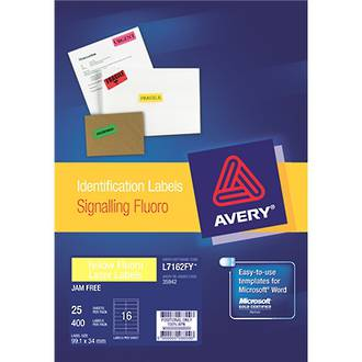 Avery L7162-25FY Fluoro Yellow 25shts
