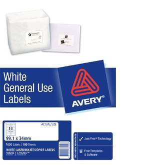 Avery L7162 General Use (Dl16) 99x34mm * SPECIAL *