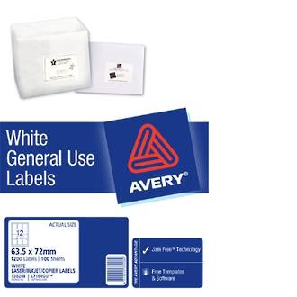 Avery L7164 General Use (Dl12) 64x72mm