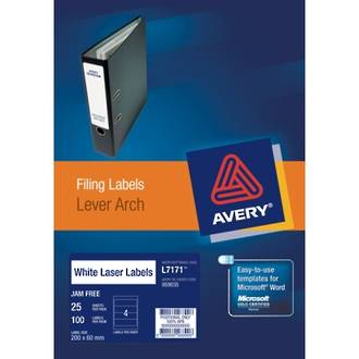 Avery L7171-25 Lever Arch 4up 200x60mm