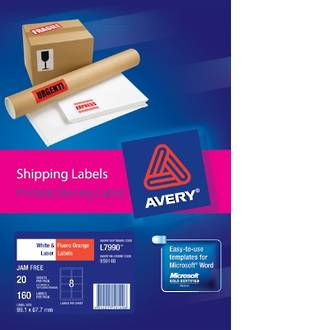 Avery L7990 Shipping Labels A4 8up 99X68mm