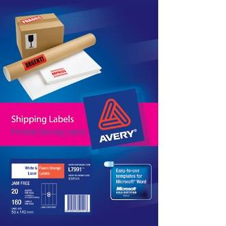 Avery L7991 Shipping Labels A4  8up 50X142mm