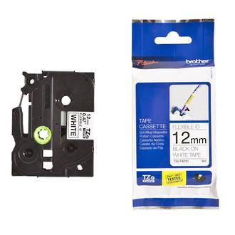 Brother TZeFX231 12mm Black on White Flexi ID Label Tape