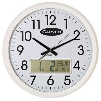 Carven LCD Calendar Clock 47cm White