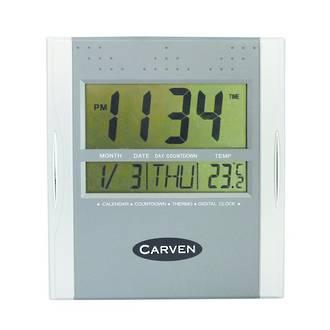 Carven Digital Clock 21cm Wide Silver