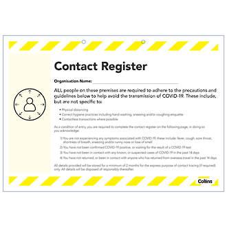 Collins Contact Register Pad COVID-19