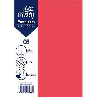 Croxley Env C6 Coloured Pack 25 - 4 Colours
