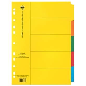 FM Indices A4 5 Tab Coloured Card