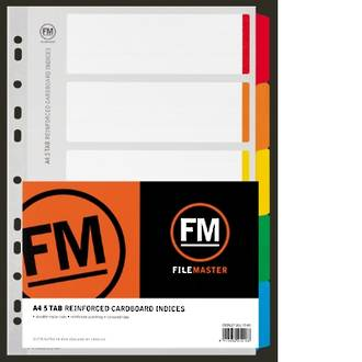 FM Indices A4 5 Tab Colour Reinforced Card