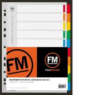 FM Indices A4 10 Tab Colour Reinforced Card