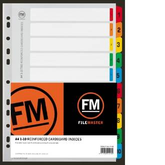 FM Indices A4 1-10 Tab Colour Reinforced Card