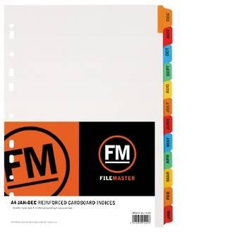 FM Indices A4 Jan-Dec Tab Colour Reinforced Card