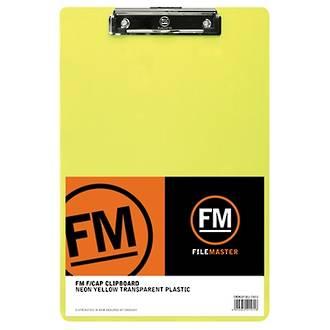 FM Clipboard Neon Yellow Foolscap Transparent Plastic